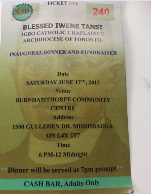 Fundraiser Igbo Church Toronto