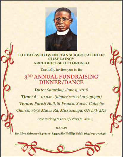 Blessed Iwene Igbo Catholic  Toronto  3rd Annual Fundraising Dinner/Dance 🗓
