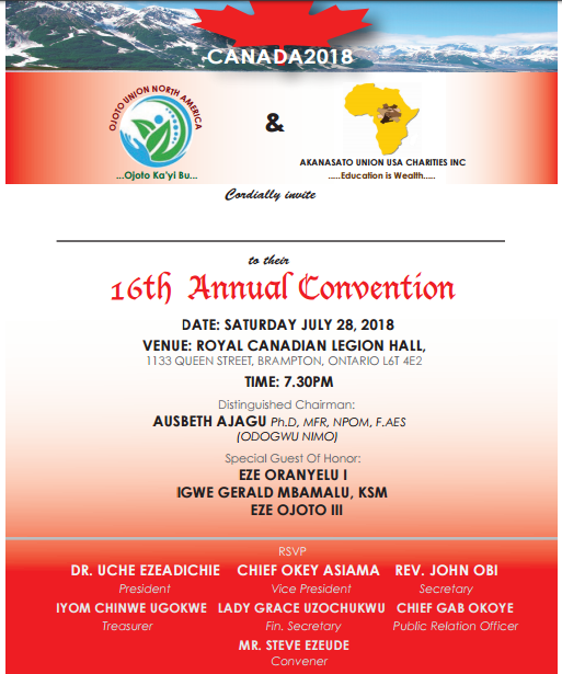 Toronto 16th Annual Convention of Ojoto Union North America 🗓